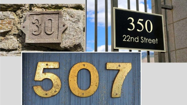 collage of house numbers used to communicate your home address