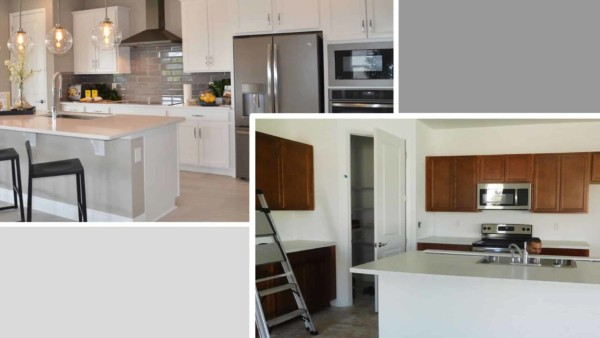 comparing kitchen from model homes to what you get as basic kitchen from Richmond American Homes ... and learn how to get more house for less money
