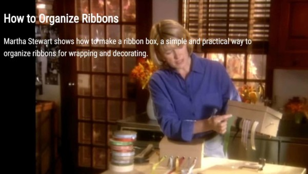 Martha Stewart video showing how to make a ribbon box