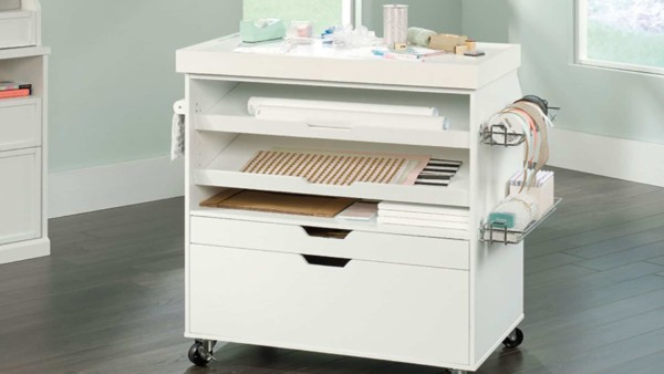 rolling craft cart to organize ribbon, paper & much more