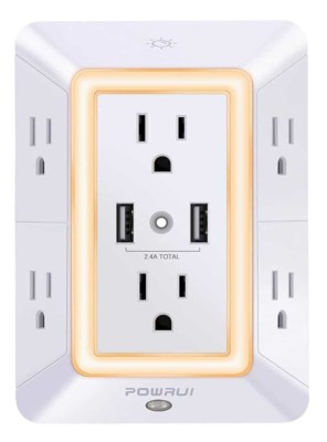 expanded electrical outlet with usb ports & nightlight