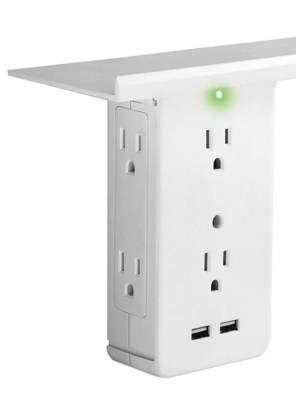 expanded electrical outlets, USB ports & shelf