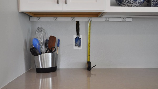 measuring distance from countertops to new electrical outlet strip