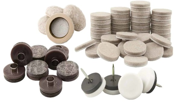 collage showing different types of furniture pads