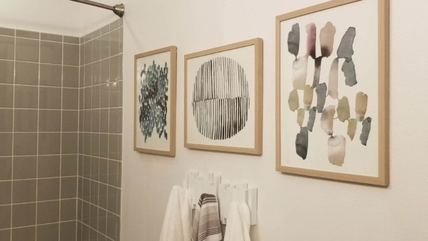 bathroom wall with artwork & towel hooks