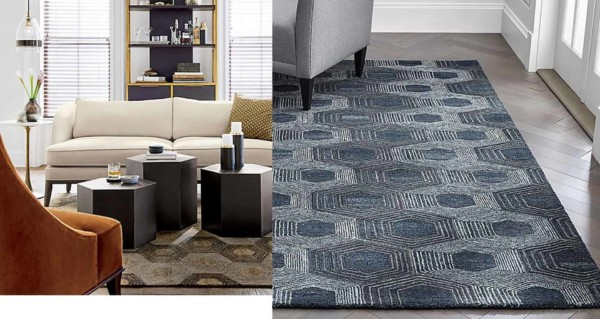 established furniture stores offer rugs & other furniture in multiple colors like this blue &