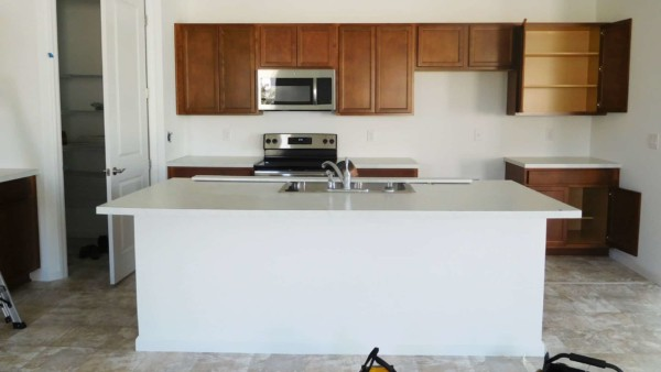 basic builder kitchen with no upgrades until you make home renovations before moving in