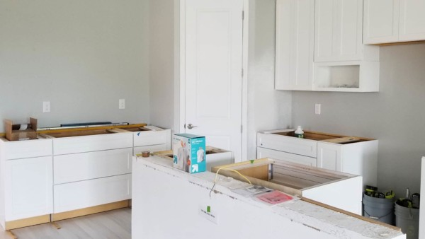 new cabinets installed, replacing builder cheap kitchen cabinets