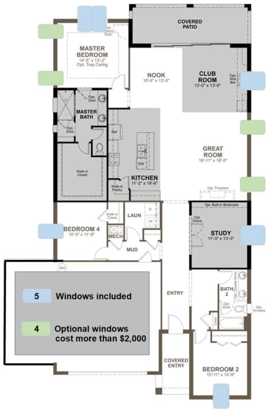 floor plan showing 9 cheap house windows, have optional that cost $2,000 plus