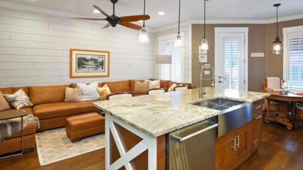 kitchen design trends focusing on integrating with adjoining rooms like the family room shown here