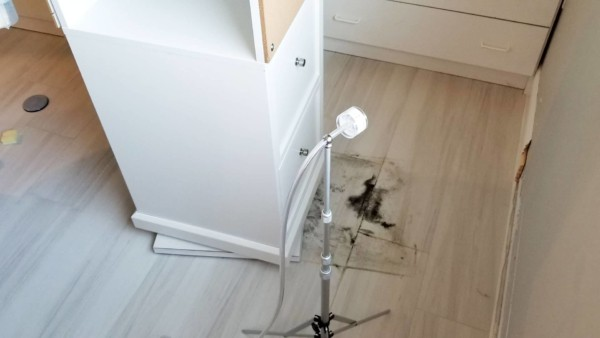mold air sample being taken before using mold cleaning products to remove ...