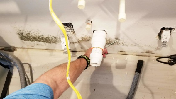 Mold swab sample on wall behind kitchen sink ... before we start using mold cleaning products
