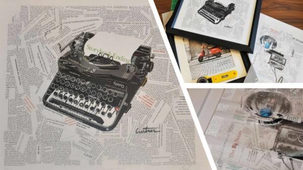 water damaged art typewriter replaced & framed