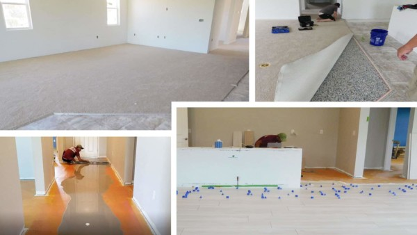 Flooring replaced in new home to get tile floors and more house for less money