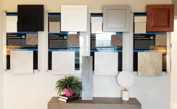 Lennar offers 4 design packages on site (black, white, gray & wood stain) instead of a design center