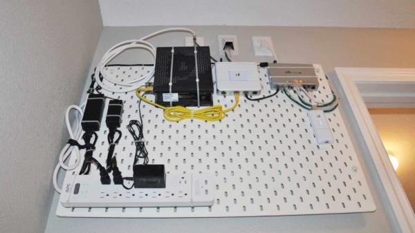 IKEA pegboard perfect for organizing house electronics