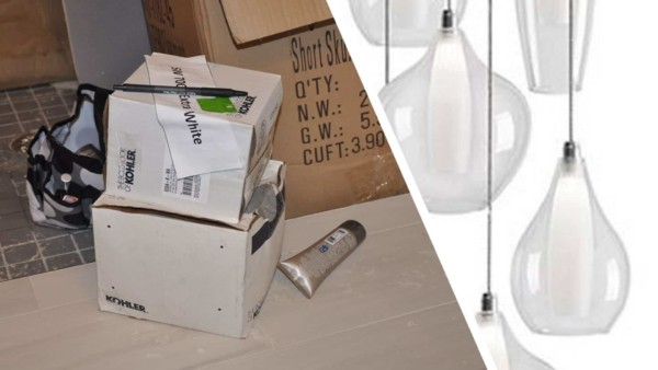 Boxes with dining room chandelier got wet & had to be discarded