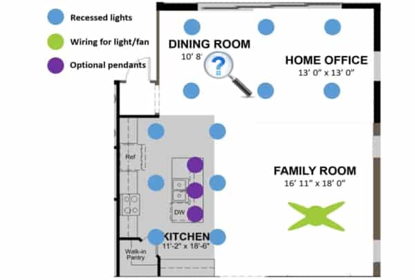floor plan showing electrical fixtures in a great room (kitchen, dining room, family room & home office)