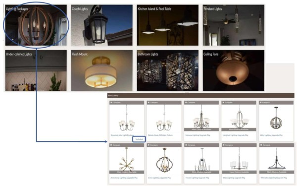 for each type of lighting, click to see available builder upgrades