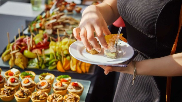 party buffets work perfectly, set out on laminate kitchen countertops