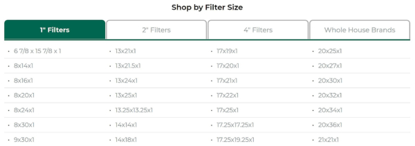 Example of the HVAC filter sizes you can find at FilterBuy.com, by size and MERV rating