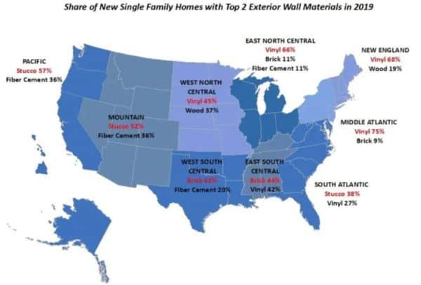US map broken down into 9 regions, identifying top 2 home siding materials in each region