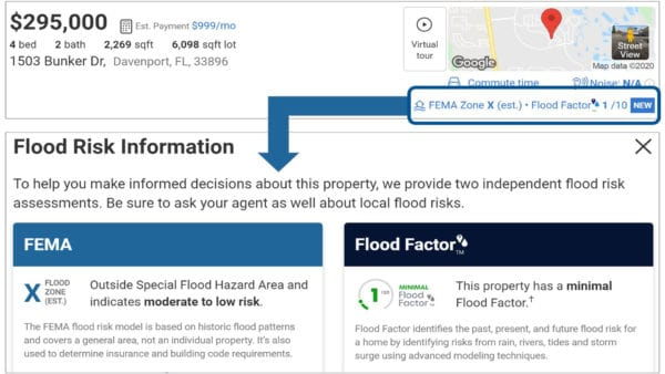 Screen captures showing where you can find your flood risk data on house listings ...