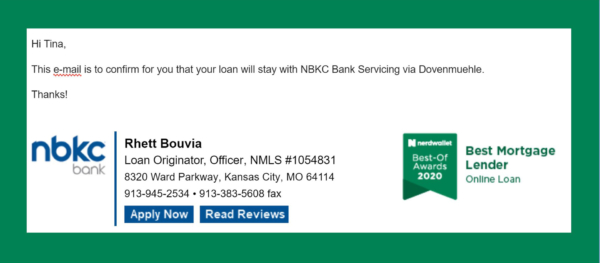 email documenting agreement about mortgage servicer