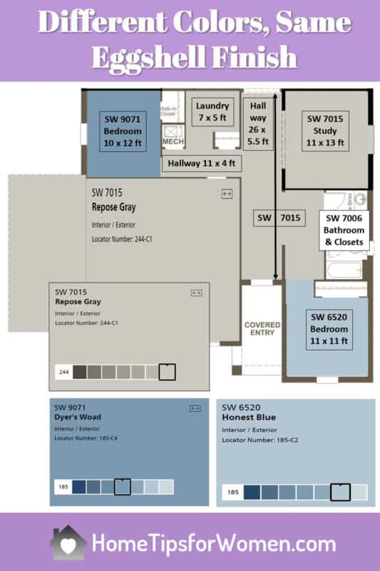 floor plan showing various paint colors, all done with an eggshell paint finish